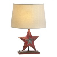 Rustic Red Country Star Table Lamp   FREE Shade