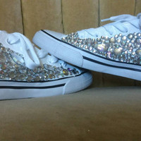 Made to order. Sizes 5.5-11 White canvas crystal flats. Keds style shoes.