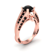 Rose Gold Skull Engagement Ring 14 k Genuine Black Diamond