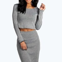 Ailsa Contrast Knitted Rib Tube Midi Skirt