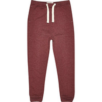 River Island Boys dark red tapered joggers