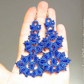 """Statement indigo blue lace earrings - Big royal blue boho lace earrings with beads.""""Filigran"""" collection"""
