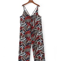 Casual Spaghetti Strap Designed Leaf Printed Straight Jumpsuit