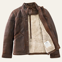 Men's Premium Shearling Leather Bomber Jacket