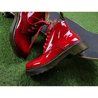 Sale Dr.Martens Arcadia Leather Red Lace-up Boots