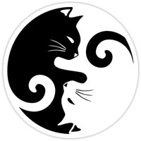 'Ying Yang Cats - Black and white' Sticker by MellowGroove