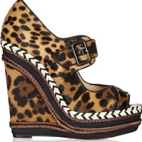 new CHRISTIAN LOUBOUTIN Highlander 140 leopard print calf hair wedge sandal EU36