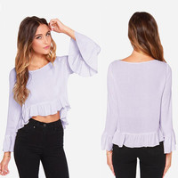 Purple Bell Sleeve Ruffled Cropped Top