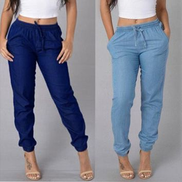 Womens Elastic Waist Casual Pants High Waist Jeans Casual Blue Denim Pants
