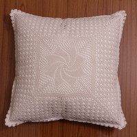 HANDMADE CROCHET Cushion Cover, Pillow case, Decorative Throw Pillow, Home Decor - White and Natural Color, Oroshi Design