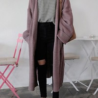 New Purple Pockets V-neck Long Sleeve Oversized Casual Cardigan Sweater