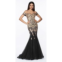 Off The Shoulder Lace/Tulle Mermaid Gown Black/Gold Beaded Detail