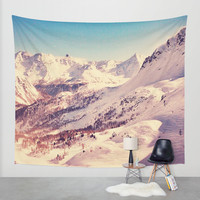 The Snow and the Mountain Wall Tapestry by Vito Fabrizio Brugnola