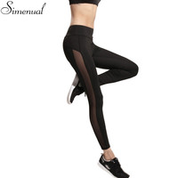 Harajuku 2016 sport leggings women mesh splice fitness slim black legging sportswear clothing summer new running gym leggins hot