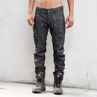 MOON PATROL - Heathen Clothing Men's Pants - Hand Painted - Stretch Cotton Twill - Button Fly - Zippered Gussets - Brass Key Loop