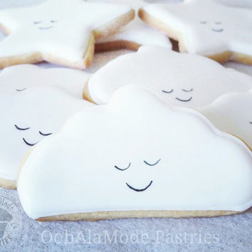 12 Cloud Cookies, Baby Shower Cookies, Cloud Sugar Cookies, Happy Cloud Cookies, Cute Cloud Cookies, Birthday Cookies, Custom Cookies