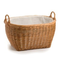 Oval Wicker Laundry Basket