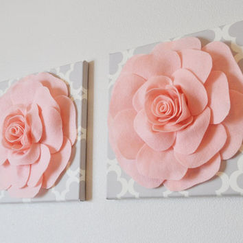 """TWO Wall Flowers -Light Pink Roses on Gray and White Tarika Print 12 x12"""" Canvases Wall Art- Baby Nursery Wall Decor-"""