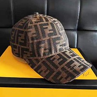 FENDI Trending Women Men F Letter Jacquard Sports Sun Hat Baseball Cap Hat Brown