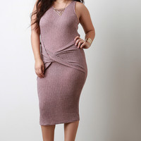 Twisted Marled Loose Ribbed Knit Sleeveless Bodycon Midi Dress