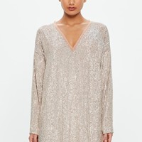 Missguided - Peace + Love Silver Sequin Embellished Shift Dress
