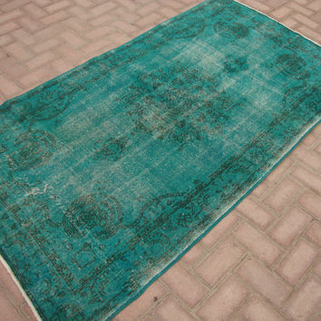 TURQUOISE green Vintage Overdyed Rug Turkish Teppich Home Decor Carpet Anatolian Tribal Homemade Overdyed Carpet Boho Rug 6.7 x 3.7 Feet