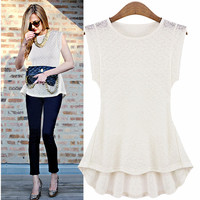 Cap Sleeve Lace Asymmetrical Blouse