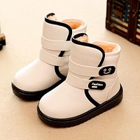 Winter Children'S Snow Boots Shoes Kids Girls/Boys Waterproof Warm Cotton Boots Plush Thicken Velvet Baby Boots Non-Slip Shoes