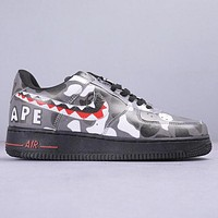 NIKE Air Force 1 AF1 & Bape Aape Fashion New Shark Hook Camouflage Sports Leisure Shoes Men