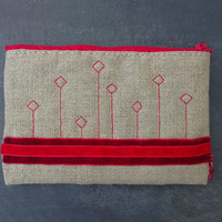 Geometric zipper pouch /  iphone - smartphone - sunglasses wallet. Red embroidery, natural linen and velvet ribbons.OOAK