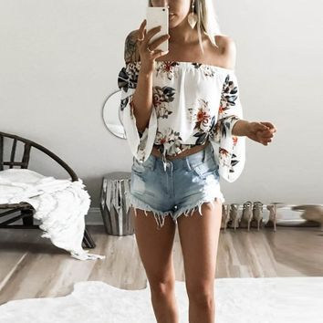 Women Summer Off Shoulder Crop Top