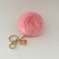 Pink 10 cm Rabbit fur pom pom ball keychain or bag pendant with heart charm