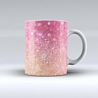 The Glowing Pink and Gold Orbs of Light ink-Fuzed Ceramic Coffee Mug