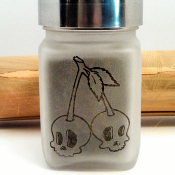 Retro Skull Cherries Etched Glass Stash Jar - Free UPGRADE to Priority Mail within the US