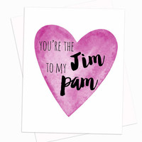 The Office themed card - Jim and Pam - Love - Valentine - Greeting Card - Valentine's Day - Anniversary - Blank Card