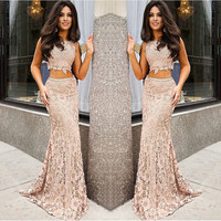 2017 New Fashion Trend 2 Pieces Lace Nude Prom Dress Appliques Prom Gown Long Formal Gowns Beaded Dresses Vestidos De Formatura