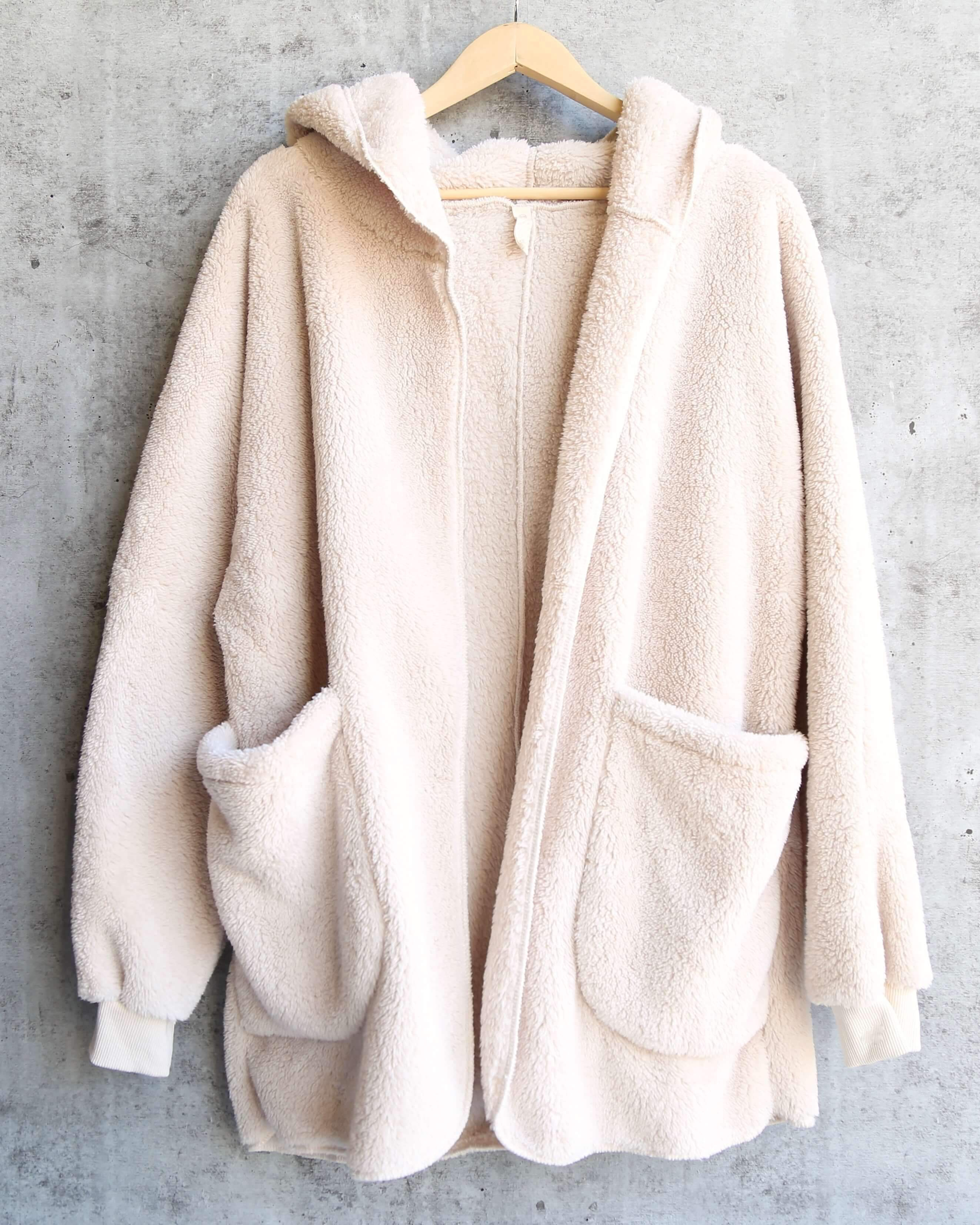Image of Open Front Faux Fur Sherpa Cardigan With Hoodie in Taupe