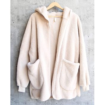 Open Front Faux Fur Sherpa Cardigan With Hoodie in Taupe
