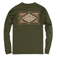 Leather Patch Long Sleeve Tee in Cypress by The Southern Shirt Co.