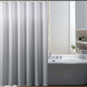Bermino Textured Fabric Bath Shower Curtain - Ombre Shower Curtains for Bathroom with 12 Hooks, 70 x 72 inch, Grey Gradient 70x72 inch