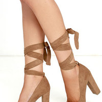 Ever So Sweet Chestnut Suede Lace-Up Heels
