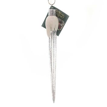 Old World Christmas SPARKLING ICICLE Ornament Snow Covered Drop 34043 Silver
