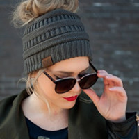 Messy Bun and Ponytail Beanie