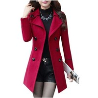 Womens Red Double Breasted Button Up Pea Coat Dress Jacket