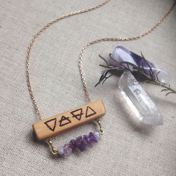 four elements necklace • crystal bar necklace - amethyst wood necklace - witch jewelry - pagan necklace