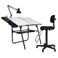 Studio Designs 4 Piece Ultima Fold-A-Way Drafting Table Set - Black or White