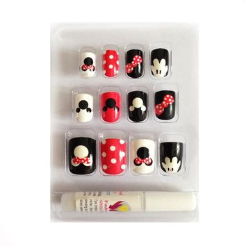 New 12 pieces Mickey Mouse 3D DIY Fashion Cute Style Plastic Art  short Fake false Sticker Nail Tips With Glue Gel
