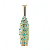 Peacock Long Neck Jewel Stoneware Vase
