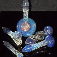 Ultimate Deluxe Smoking Gift Set 5x Matching Blue Purple Fumed Glass - FREE SHIPPING Stand Up Pipe, Twisted Bowl, Sherlock, Spoon & Chillum