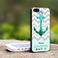 Personalized Mint Glitter Anchor - For iPhone 5 Black Case Cover